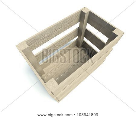 Empty Wooden Crate Isolated On White