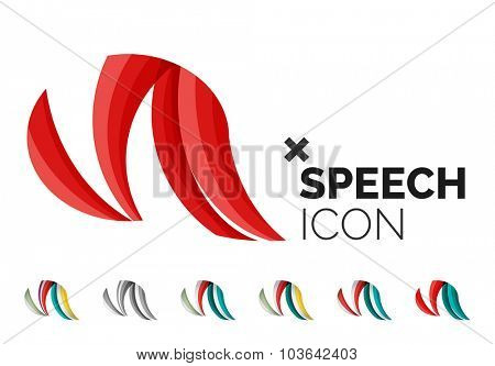 Set of abstract speech bubble and cloud icons, business logotype concepts, clean modern geometric design. Created with transparent abstract wave lines