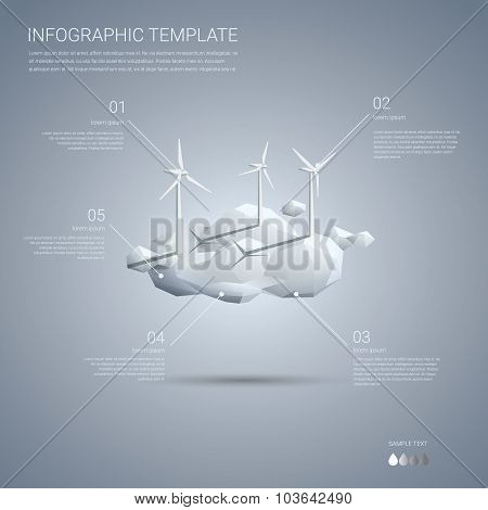 Wind farm on clouds infographics template. Clean sustainable energy concept presentation of renewabl