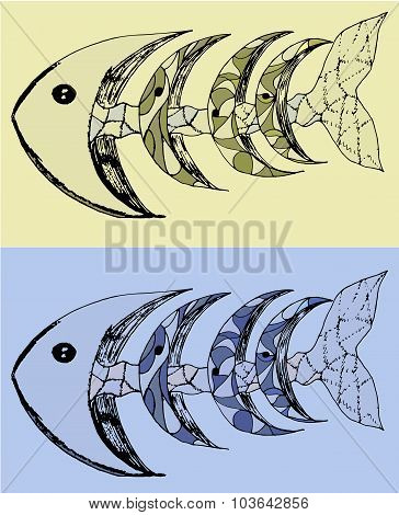Fish With Bones Abstract Vector Illustration Set