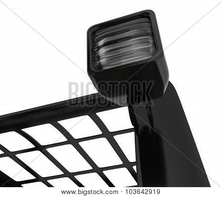 Closeup Headlamp forklift. Isolated on white