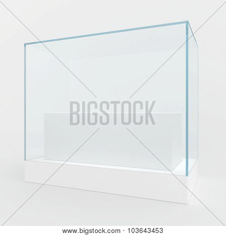 Glass showcase in center of podium.
