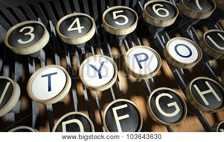 Typewriter With Typo Buttons, Vintage