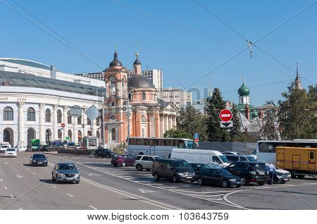 Moscow, Russia - 09.21.2015. View Gostiny Dvor and  Temple of the Great Martyr Varvara on Vasilyevsk