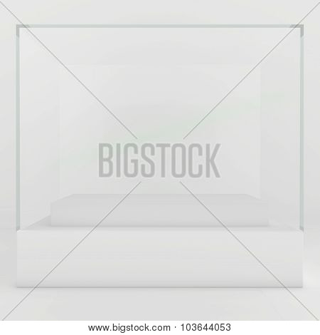 Glass Showcases. 3d render on a gray background