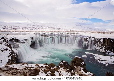 Waterfall Godafoss In Wintertime, Iceland