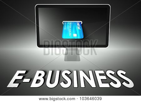 Screen And Credit Card, Word Business, E-commerce