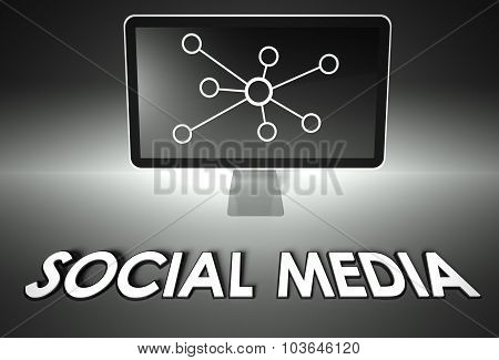 Screen And Internet Sign With Social Media, Network