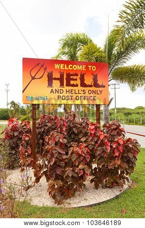 Welcome Sign In The Hell Place In Grand Cayman Island