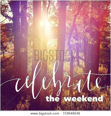Inspirational Typographic Quote - Celebrate the weekend