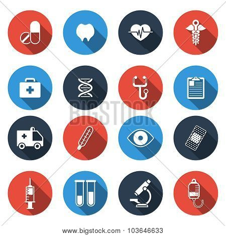 Medical Icons with Long Shadow