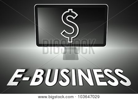 Screen And Dollar Sign, Word Business, E-commerce
