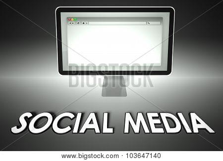 Computer And Web Browser With Social Media, Network