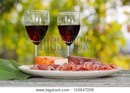 red wine glasses and food outdoor