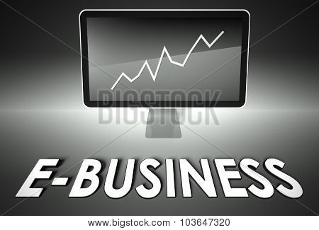 Screen And Graph With E-business, E-commerce