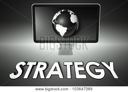Screen And Globe With Strategy, Success