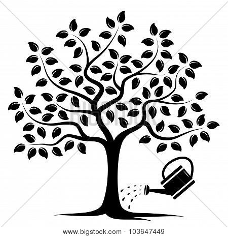 Tree And Watering Can