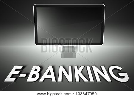 Computer Blank Screen With Word E-banking