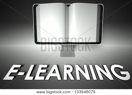 Screen And Open Book With E-learning, Internet