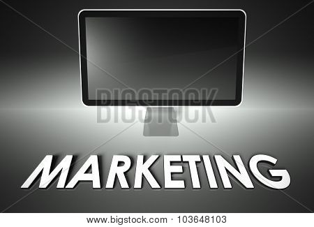 Computer Blank Screen With Word Marketing