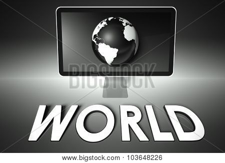 Screen And Globe With World, Network