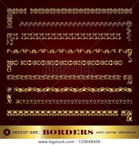 Borders with corner elements in gold - set 3