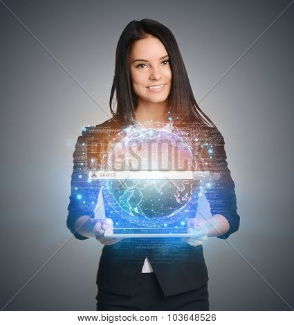 Close up of business woman holding digital globe with search keep in hand