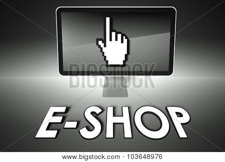 Screen And Hand Icon With E-shop, E-commerce
