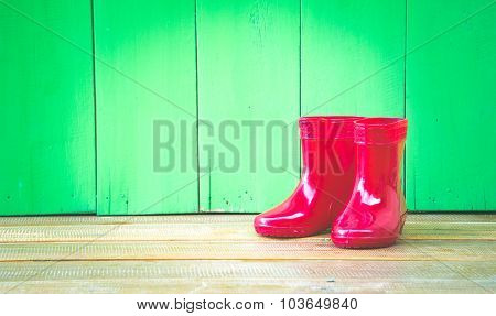 Red Color Children Boot