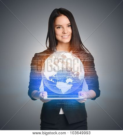 Close up of business woman holding digital globe keep in hand