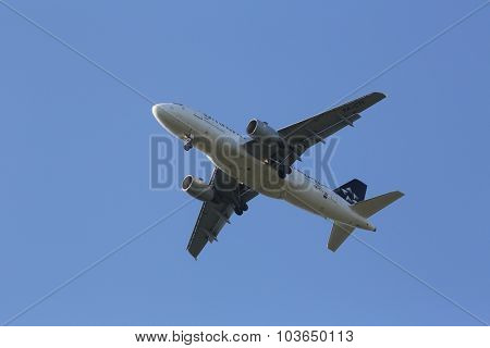 ZAGREB, CROATIA - JUNE 10: Airbus A319, registration 9A-CTI of Croatia Airlines landing on Zagreb Airport Pleso on June 10, 2015.