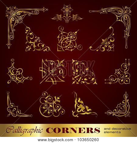 Calligraphic corners and decorative elements in gold