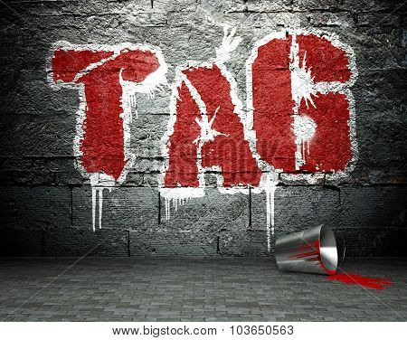 Graffiti Wall With Tag, Street Background