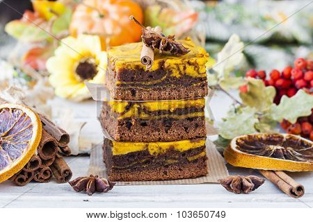 Brownie With Pumpkin And Chocolate