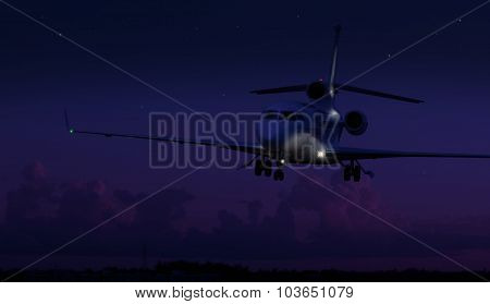 Private jet landing in the middle of the night