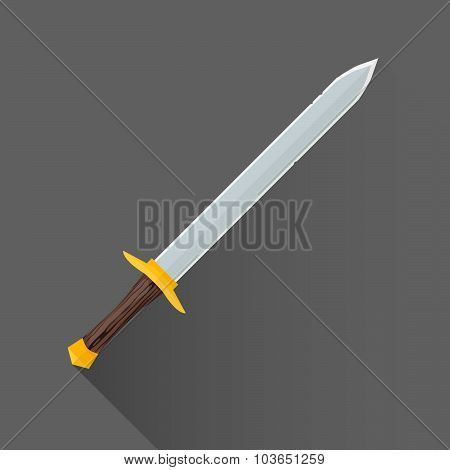 Vector Flat Style Medieval Battle Sword Illustration Icon.