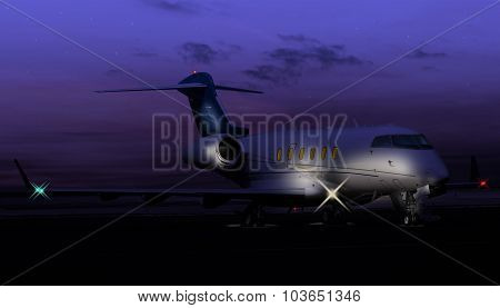 Nocturnal shot of a private jet