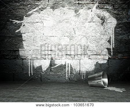 Graffiti Wall With Frame, Street Background