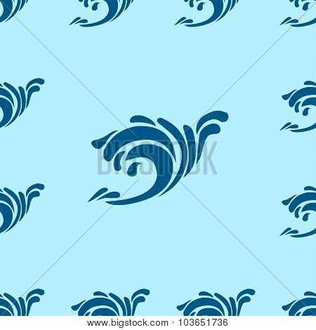 Undulating Blue Ocean An Sea Waves Seamless Background Pattern