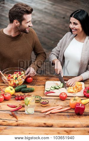 Young Couple Love Cooking Together