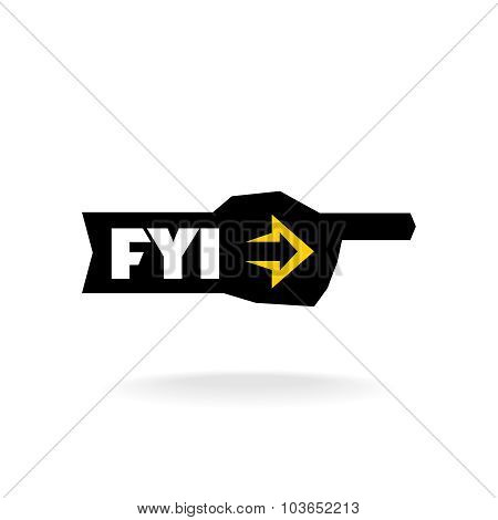 Fyi Sign. Information Pointer Logo.