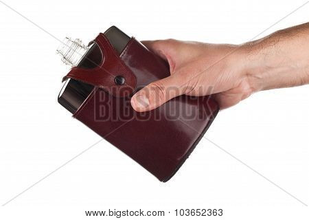 Hand holding a flask