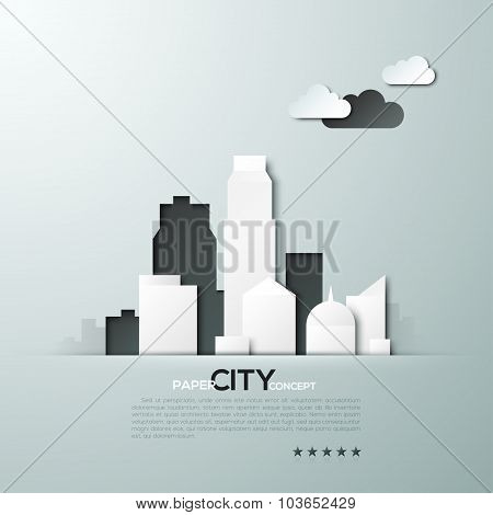 White paper city concept vector illustration
