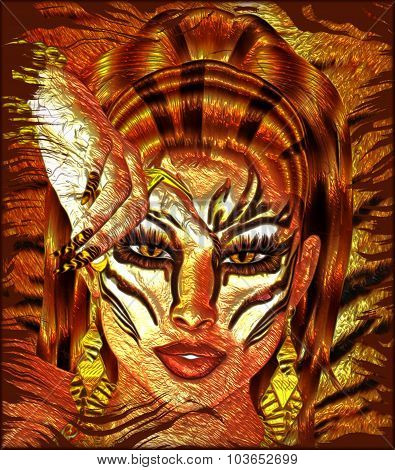 Tiger's Light. A woman's face with exotic Tiger striped makeup and a matching background.
