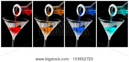Colorful cocktails in frosty martini glasses