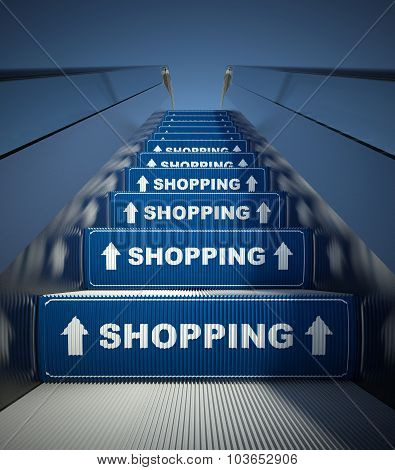 Moving Escalator Stairs To Shopping, Concept