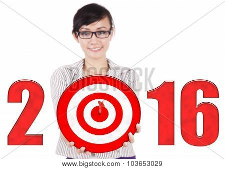 Female Worker With Dartboard And Numbers 2016