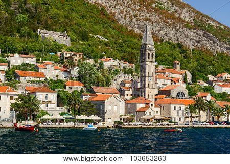 View From The Sea On Perast, Kotor Bay, Montenegro