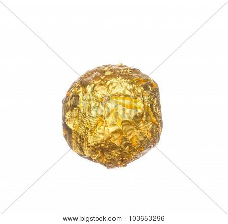 Chocolate Ball Wraped With Golden Foil Isolated On White