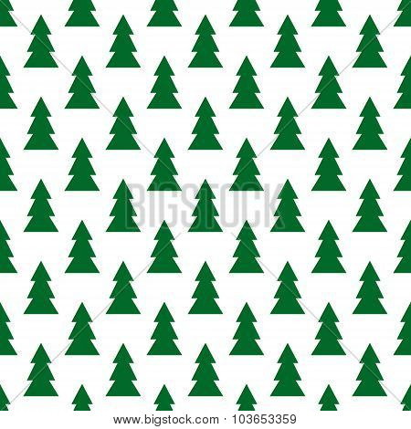 Seamless Colorful Christmas And New Year Pattern Of Firs